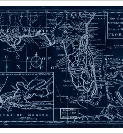 American Revolutionary War Era Maps 1750-1786 105 A map of the new governments of East & West Florida Inverted Sticker