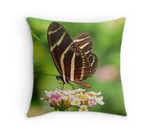 Zebra Longwing in profile Throw Pillow