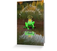Happy Birthday Princess, green frog and crown. Greeting Card