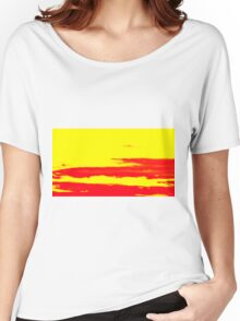 Sky and Clouds in Psychedelic Yellow and Red Women's Relaxed Fit T-Shirt