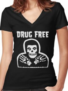 Drug Free Women's Fitted V-Neck T-Shirt