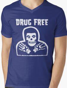 Drug Free Mens V-Neck T-Shirt