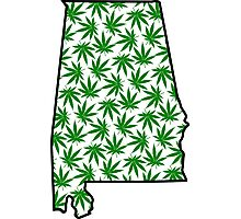 Alabama (AL) Weed Leaf Pattern Photographic Print
