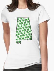 Alabama (AL) Weed Leaf Pattern Womens Fitted T-Shirt