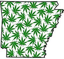 Arkansas (AR) Weed Leaf Pattern Photographic Print