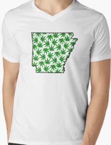 Arkansas (AR) Weed Leaf Pattern Mens V-Neck T-Shirt