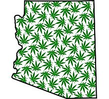 Arizona (AZ) Weed Leaf Pattern Photographic Print