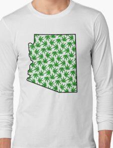 Arizona (AZ) Weed Leaf Pattern Long Sleeve T-Shirt