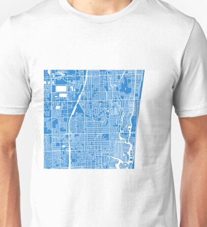 Fort Lauderdale Map - Light Blue Unisex T-Shirt