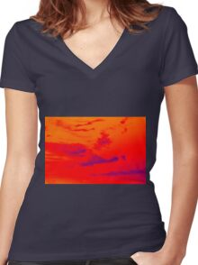 Pyschedelic Sky Colors Women's Fitted V-Neck T-Shirt