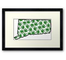 Connecticut (CT) Weed Leaf Pattern Framed Print