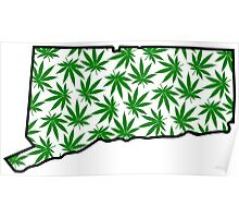 Connecticut (CT) Weed Leaf Pattern Poster
