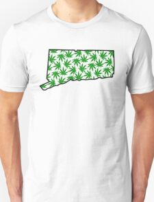 Connecticut (CT) Weed Leaf Pattern Unisex T-Shirt