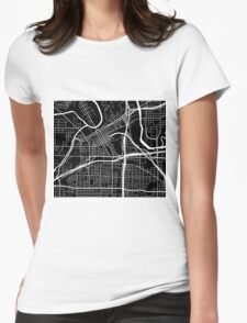 Fort Worth Map - Black Womens Fitted T-Shirt