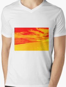 Psychedelic Beach Sunset Mens V-Neck T-Shirt