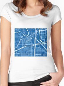 Fort Worth Map - Deep Blue Women's Fitted Scoop T-Shirt