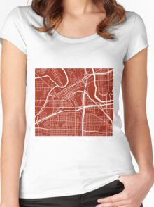 Fort Worth Map - Dark Red Women's Fitted Scoop T-Shirt