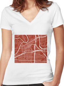 Fort Worth Map - Dark Red Women's Fitted V-Neck T-Shirt