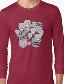 White roses and owls Long Sleeve T-Shirt