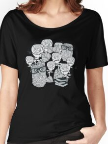 White roses and owls Women's Relaxed Fit T-Shirt