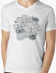 White roses and owls Mens V-Neck T-Shirt