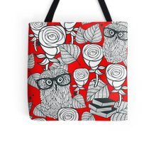 White roses and owls Tote Bag