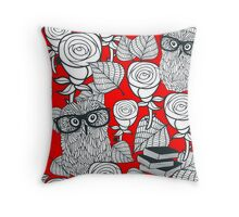 White roses and owls. Throw Pillow