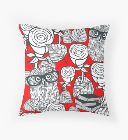 White roses and owls Throw Pillow