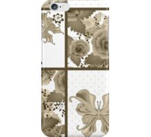 Seamless vintage floral sepia retro colors rose butterfly pattern background iPhone Case/Skin