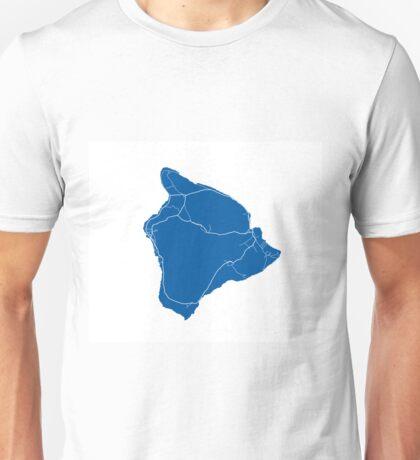 Hawaii Island Map - Deep Blue Unisex T-Shirt