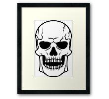 Black skull. Very DANGER! Framed Print