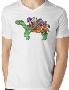 Rainbow Mushroom Tortoise  Mens V-Neck T-Shirt