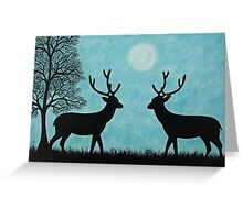 Deer Tree and Moon, Two Deer Silhouettes, Romantic Deer Greeting Card
