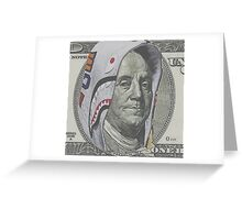 Benjamin Franklin 100 dollar bill shark hoodie Greeting Card