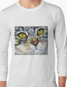 Blink Macro Cat Painting Long Sleeve T-Shirt