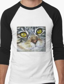 Blink Macro Cat Painting Men's Baseball ¾ T-Shirt