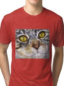 Blink Macro Cat Painting Tri-blend T-Shirt