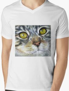 Blink Macro Cat Painting Mens V-Neck T-Shirt