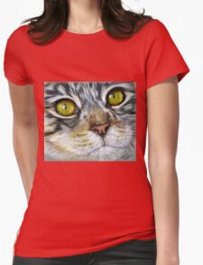 Blink Macro Cat Painting Womens Fitted T-Shirt