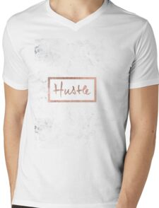 Modern hustle typography rose gold white marble Mens V-Neck T-Shirt