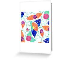 Modern coral blue purple floral pattern Greeting Card