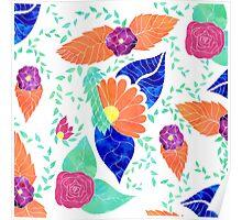 Modern coral blue purple floral pattern Poster