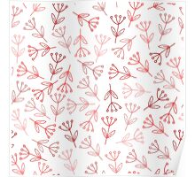 Doodle pink flowers pattern Poster
