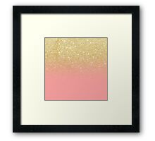 Modern gold ombre pink color block Framed Print