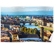 Impressions Of Florence - Arno River And The Bridges From Above Poster