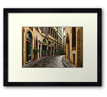 Impressions Of Florence - Walking on the Silver Street in the Rain Framed Print