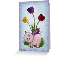 Piggy and Flowers Greeting Card