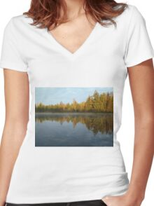 Morning at the lake Women's Fitted V-Neck T-Shirt