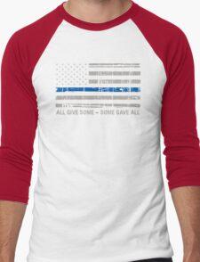 Blue Lives Matter Police Support Men's Baseball ¾ T-Shirt
