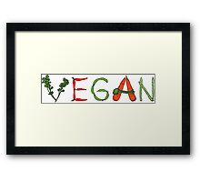 Vegan vegetables drawing color Framed Print